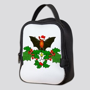 Christmas Holly With Bat Neoprene Lunch Bag