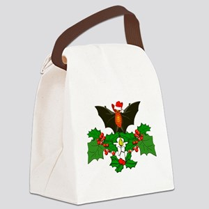 Christmas Holly With Bat Canvas Lunch Bag