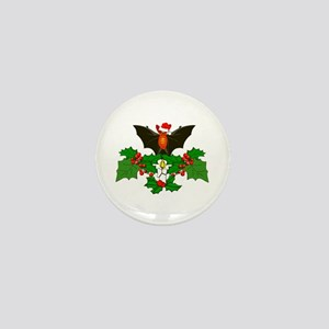 Christmas Holly With Bat Mini Button