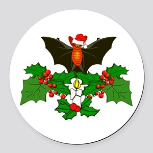 Christmas Holly With Bat Round Car Magnet