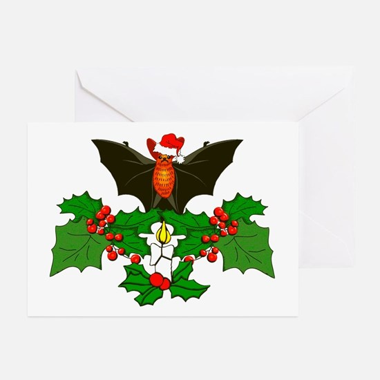 Christmas Holly With Bat Greeting Cards (Pk of 10)