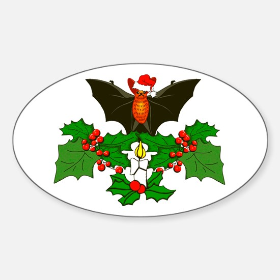 Christmas Holly With Bat Sticker (Oval)