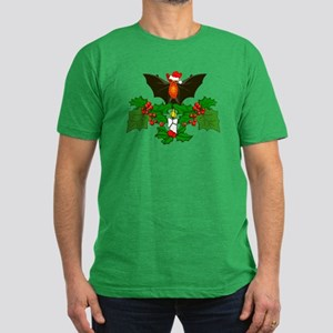 Christmas Holly With B Men's Fitted T-Shirt (dark)