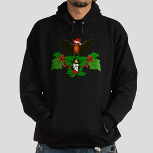 Christmas Holly With Bat Hoodie (dark)