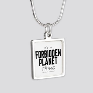 It's a Forbidden Planet Thing Silver Square Neckla