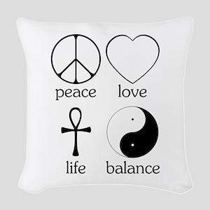 Peace Love Life Balance square II Woven Throw