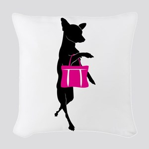 Silhouette of Chihuahua Going Woven Throw Pillow