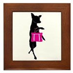 Silhouette of Chihuahua Going Shopping Framed Tile