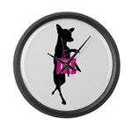 Silhouette of Chihuahua Going Sho Large Wall Clock