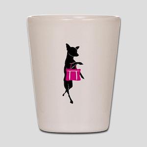 Silhouette of Chihuahua Going Shopping Shot Glass