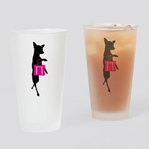 Silhouette of Chihuahua Going Shopp Drinking Glass