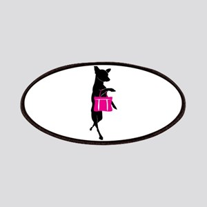 Silhouette of Chihuahua Going Shopping Patches