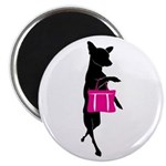 Silhouette of Chihuahua Going Shopping Magnet