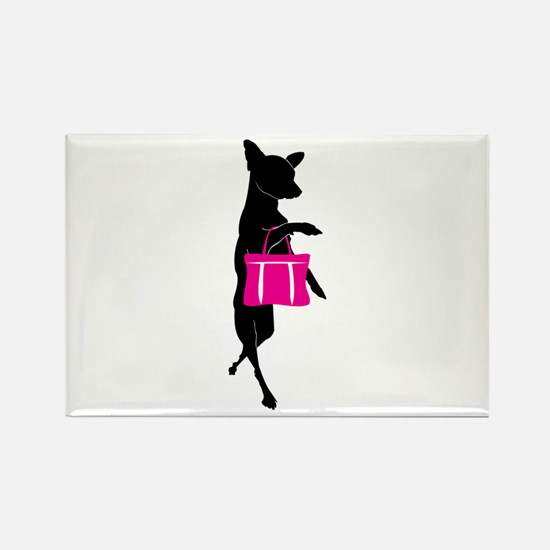 Silhouette of Chihuahua Going Sho Rectangle Magnet