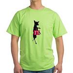 Silhouette of Chihuahua Going Shoppi Green T-Shirt