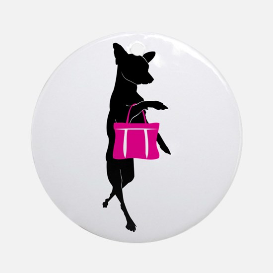 Silhouette of Chihuahua Going Sho Ornament (Round)