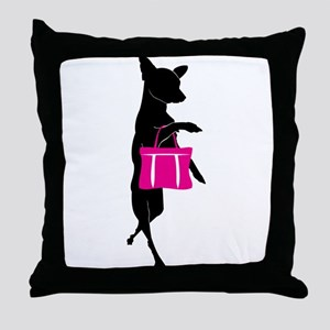 Silhouette of Chihuahua Going Shoppin Throw Pillow
