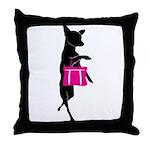 Silhouette of Chihuahua Going Shoppin Throw Pillow