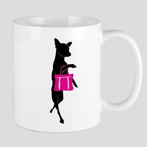 Silhouette of Chihuahua Going Shopping Mug