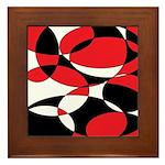 Black, white and Red Ellipticals Framed Tile