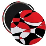 Black, white and Red Ellipticals Magnets