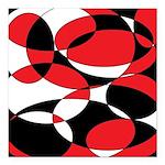 Black, white and Red Ellipticals Square Car Magnet