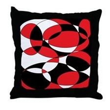 Black, white and Red Ellipticals Throw Pillow