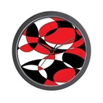 Black, white and Red Ellipticals Wall Clock