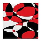 Black, white and Red Ellipticals Tile Coaster