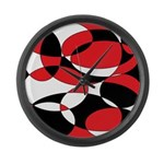 Black, white and Red Ellipticals Large Wall Clock