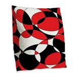 Black, white and Red Ellipticals Burlap Throw Pill