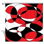 Black, white and Red Ellipticals Shower Curtain