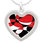 Black, white and Red Ellipticals Necklaces