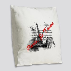 Paris, Je T'aime Burlap Throw Pillow