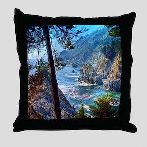 Rock Cove Seascape Throw Pillow