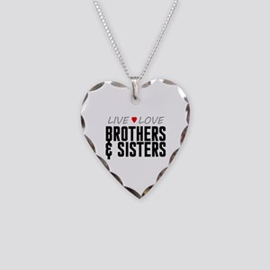 Live Love Brothers & Sisters Necklace Heart Charm