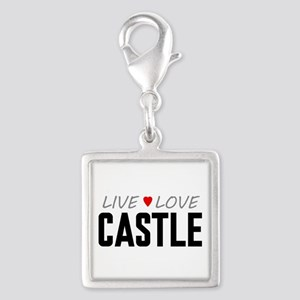 Live Love Castle Silver Square Charm