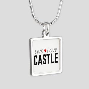 Live Love Castle Silver Square Necklace