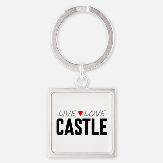 Live Love Castle Square Keychain