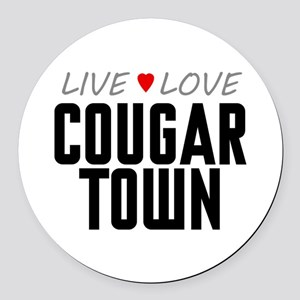 Live Love Cougar Town Round Car Magnet