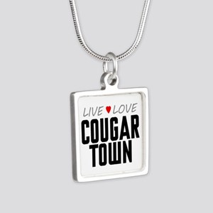 Live Love Cougar Town Silver Square Necklace