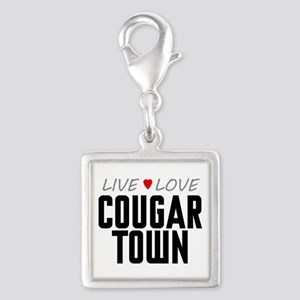 Live Love Cougar Town Silver Square Charm