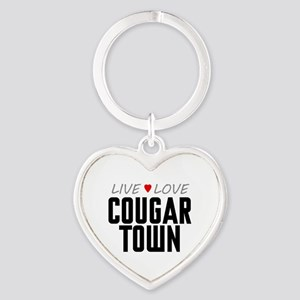 Live Love Cougar Town Heart Keychain