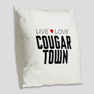 Live Love Cougar Town Burlap Throw Pillow