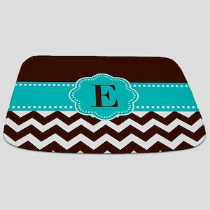 Brown Teal Chevron Monogram Bathmat