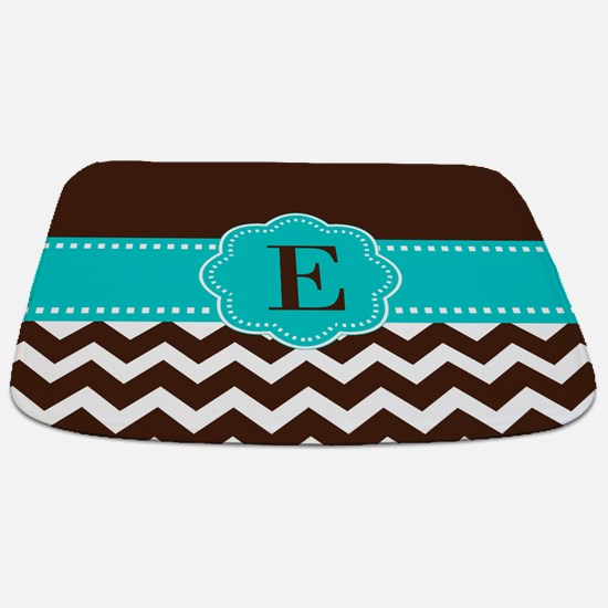 Brown Teal Chevron Monogram Bathmat