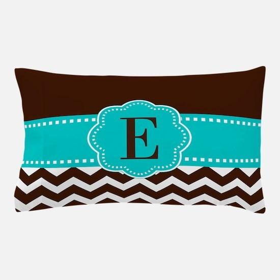 Brown Teal Chevron Monogram Pillow Case