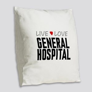 Live Love General Hospital Burlap Throw Pillow