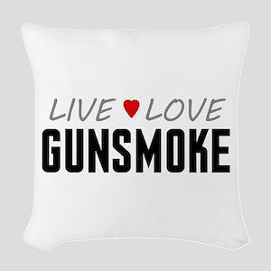 Live Love Gunsmoke Woven Throw Pillow