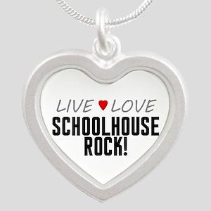 Live Love Schoolhouse Rock! Silver Heart Necklace